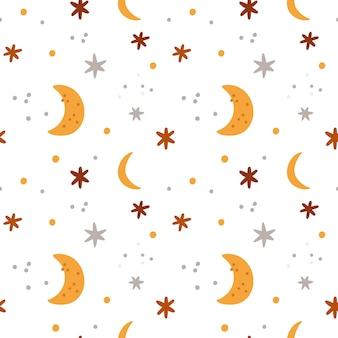 月と星を持つ女の子や男の子のためのシームレスなパターン