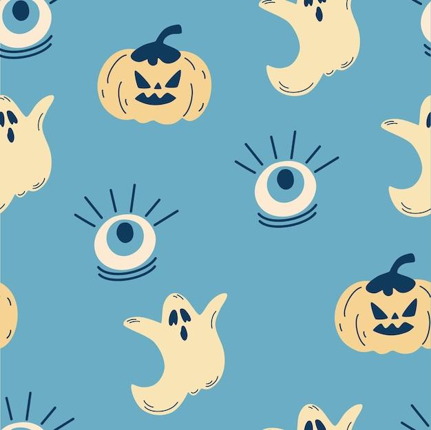 ハロウィーンのためのシームレスなパターン。カボチャ、目、幽霊の背景。ハロウィーンカード、パーティの招待状、メニュー、壁紙、ホリデーショップのセール、バッグプリント、tシャツのモダンなテンプレート。ベクター
