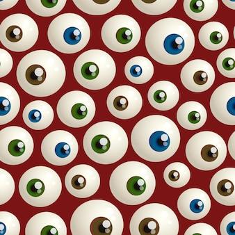 眼球とハロウィーンのシームレスなパターン