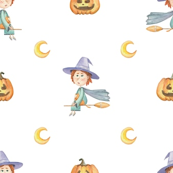 Бесшовный фон для хэллоуина с ведьмой и тыквой на белом фоне