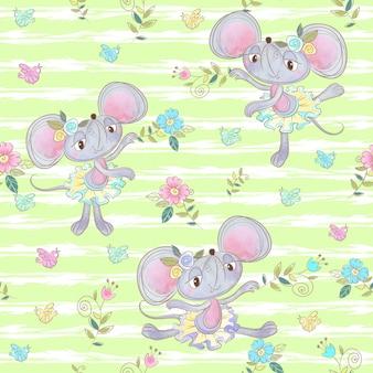 かわいいキツネバレリーナの子供のためのシームレスなパターン。