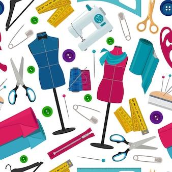 さまざまな縫製ツールを使用したテーラーショップ向けのシームレスパターン。背景の裁縫ツール、糸と針。
