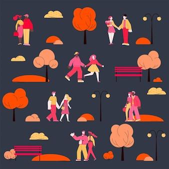 デートのカップルのベクトル図とバレンタインデーのシームレスなパターン