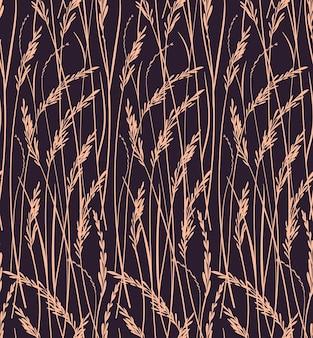 Бесшовные шаблон для. печать диких трав. коричневый фон. цветочный узор.
