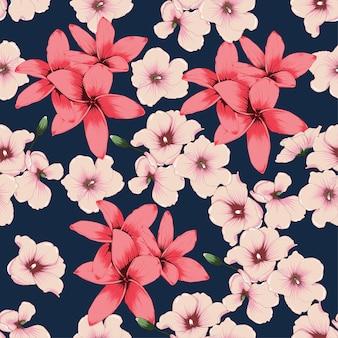 Seamless pattern frangipani flowers on dark blue bacground.