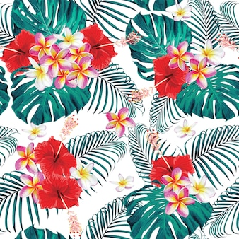 Seamless pattern frangipani and hibiscus flowers monstera leaves