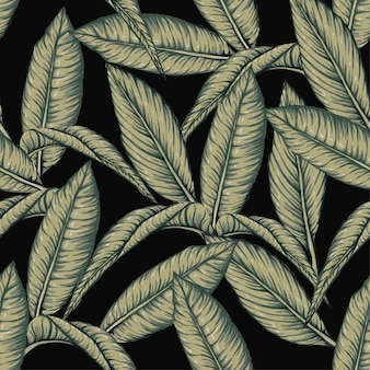 Seamless pattern frangipani leaves on black bacground.