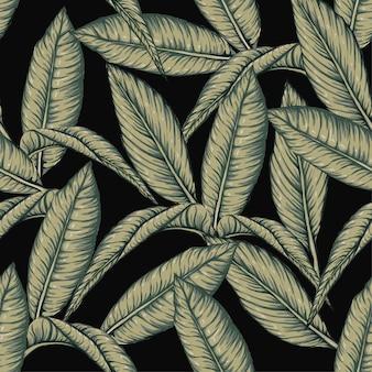 Бесшовные картины frangipani листья на черном фоне.