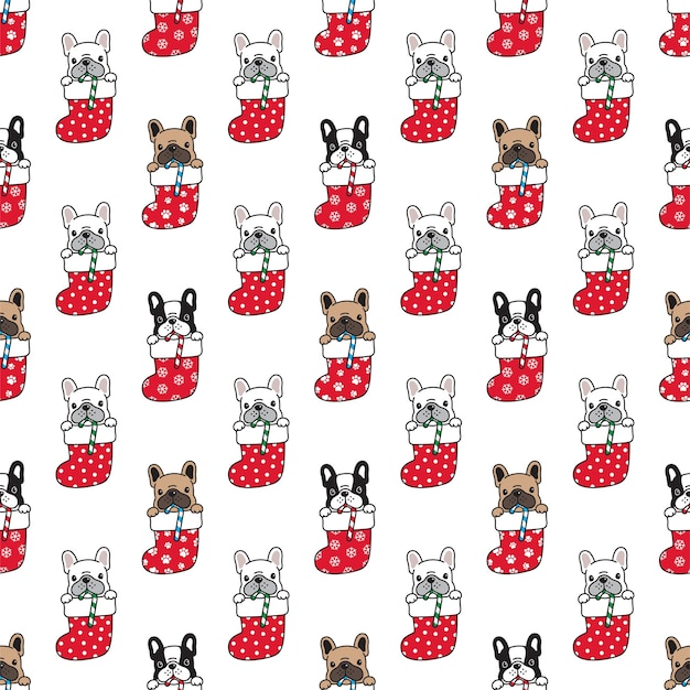 Seamless pattern french bulldog in christmas sock