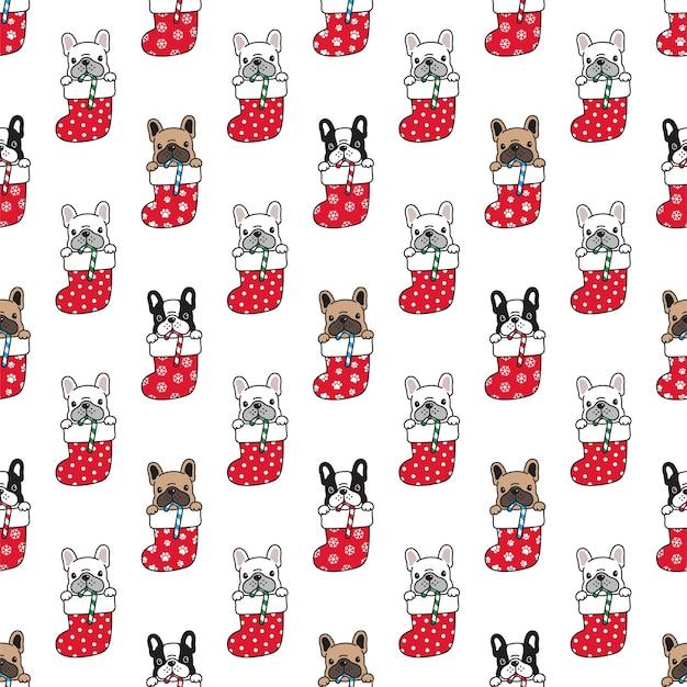 Seamless pattern french bulldog in christmas sock
