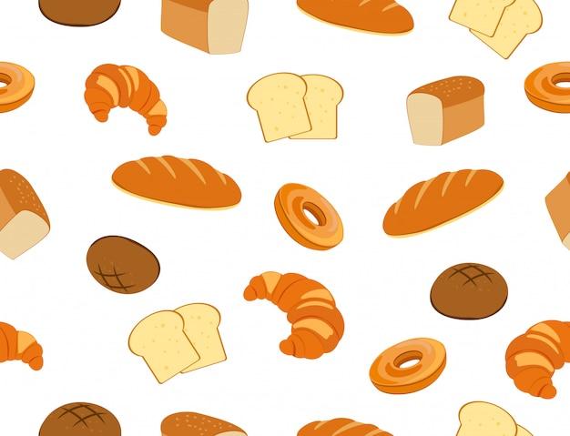 Seamless pattern of fresh bakery set