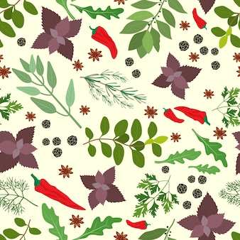 Seamless pattern of fresh cooking herbs and spices