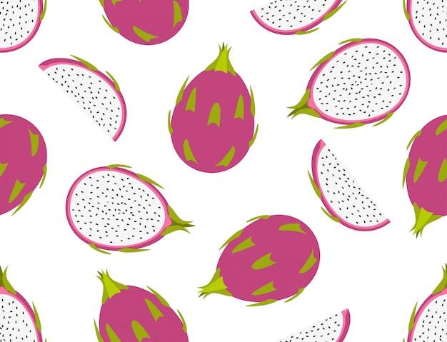 Seamless pattern of fresh dragon fruit set on white background