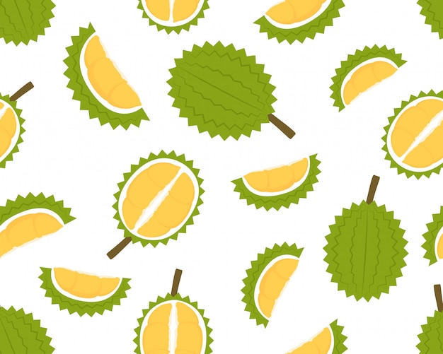 Seamless pattern of fresh durian