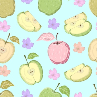 Seamless pattern of fresh juicy apple fruits slices with tropical leaves and flowers