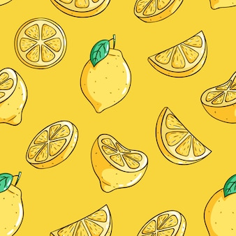 Seamless pattern of fresh lemon fruits with colored doodle style on yellow background