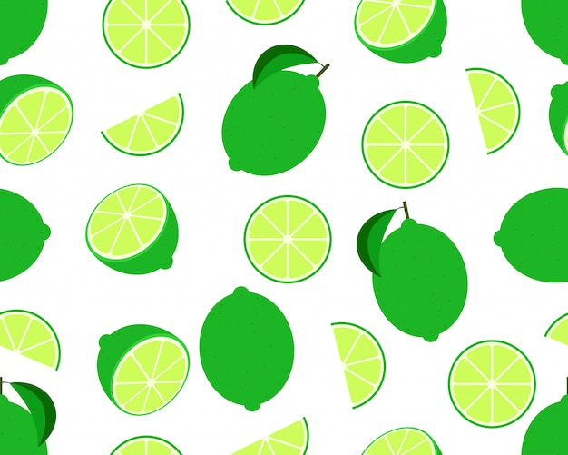 Seamless pattern of fresh lime