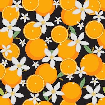 Seamless Pattern Fresh Orange Fruit Wallpaper Background