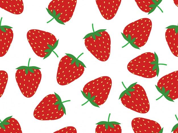 Seamless pattern of fresh strawberry