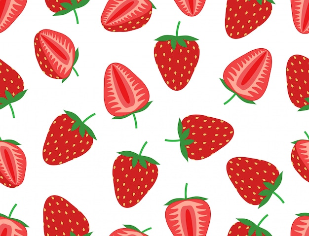 Seamless pattern of fresh strawberry