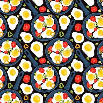 シームレスパターン目玉焼き野菜、トマト、ピーマンとフライパン。テーブルの上の健康的なブランチ。手描きの背景の新鮮な自家製の食事。伝統的な朝食用食品。世界の料理