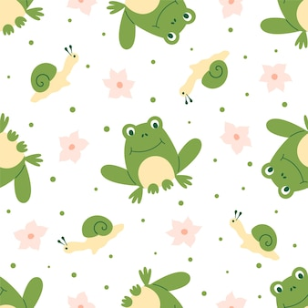 Seamless pattern of frogs with pink flowers and little snails on a white background. ideal for baby fabric, home decor, and wrapping paper.