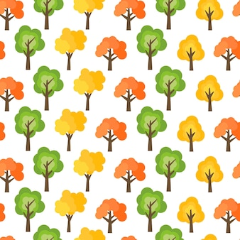 Seamless pattern from autumn trees. autumn forest background. vector illustration