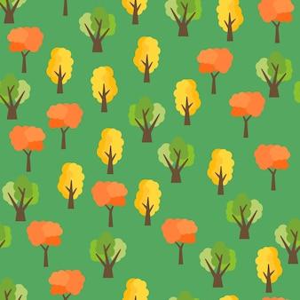 秋の木からのシームレスなパターン。秋の森の背景。ベクトルイラスト
