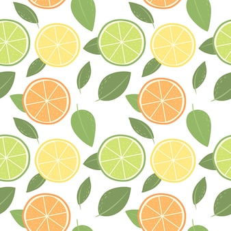 Seamless pattern from citrus orange lemon lime vector pattern in the scandinavian style backgro