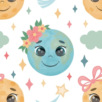 Seamless pattern from cute earth and moon. a child endless texture. vector illustration. cartoon style.