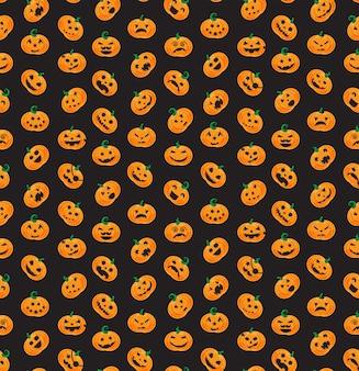 Seamless pattern from halloween emotional pumpkins