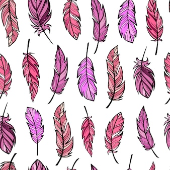 Seamless pattern from hand drawn feathers