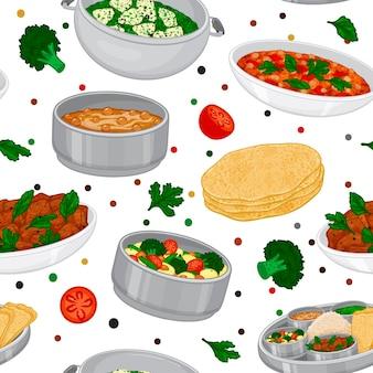 インド料理からのシームレスなパターン。ターリー、サブジ、チャパティ、ダール、ティッカマサラ。