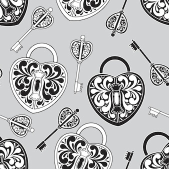 Seamless pattern from locks and keys, gray, black and white.