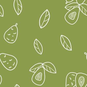 アウトラインアボカドと緑の背景の葉からのシームレスなパターン。