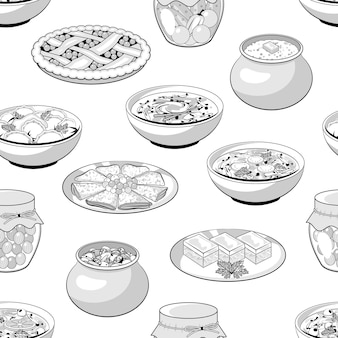 Seamless pattern from russian traditional meals. vector illustration. monochrome. black and white. cartoon style.