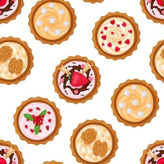 さまざまなフィリングの甘いカップケーキからのシームレスなパターン。漫画のスタイル。
