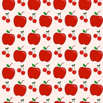 Seamless pattern fruit apple red