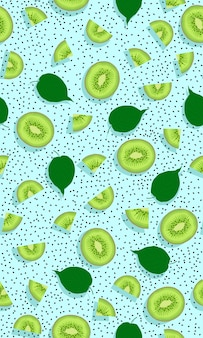 Seamless pattern fruit kiwi piece