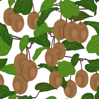 원활한 패턴 과일 키 위 나무