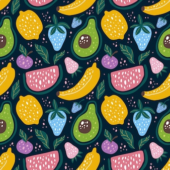 Seamless pattern fruit in scandinavian design style. can use for fabric etc