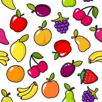 Seamless pattern of fruits with black outline