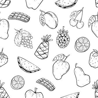 Seamless pattern of fruits with doodle style