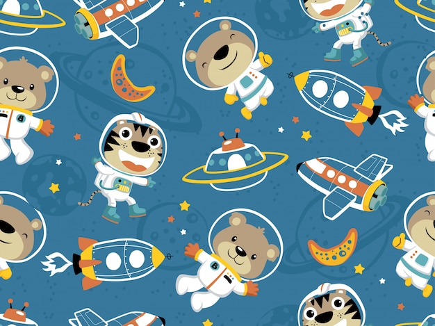 Seamless pattern of funny astronaut in outer, space transportation