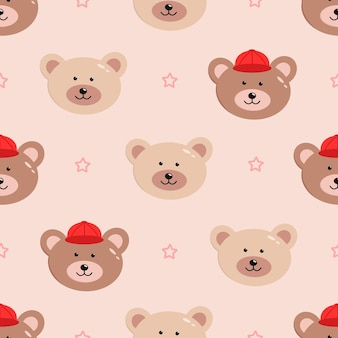 Seamless pattern of funny bear faces