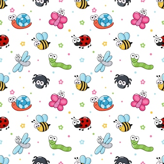 Seamless pattern funny bugs. cartoon insects