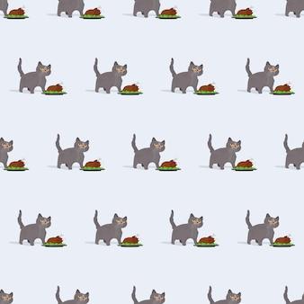 Бесшовные модели смешной кот держит жареную индейку. кот с забавным взглядом держит жареного цыпленка. подходит для фонов, открыток и принтов на летнюю тематику. вектор.