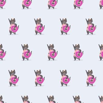 ピンクのゴムリングが付いているシームレスなパターン面白い猫。眼鏡と帽子をかぶった猫。夏をテーマにした背景、カード、プリントに最適です。ベクター。
