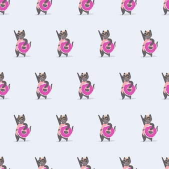 Seamless pattern funny cat with a pink rubber ring. cat in glasses and a hat. good for backgrounds, cards and prints on a summer theme. vector.