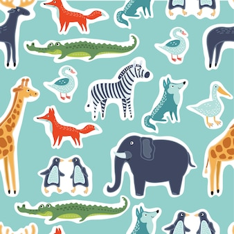 Seamless pattern of funny cute animals stickers